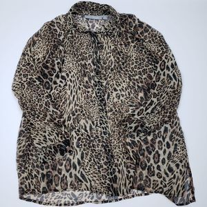 Chico's L Sheer Leopard Print Button Up
